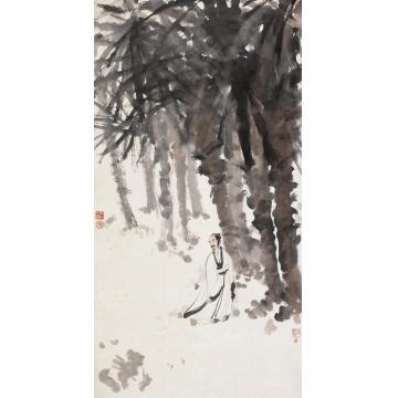 傅抱石癸卯(1963)年作棕林高士立轴设色纸本