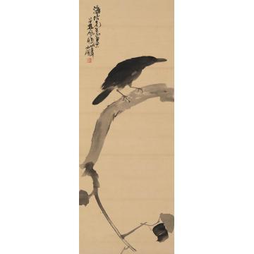 林风眠1946年作花鸟立轴水墨绢本