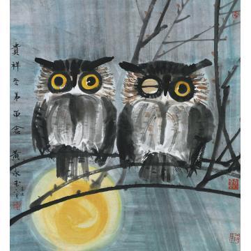 黄永玉辛未(1991)年作月夜双鹰镜片设色纸本