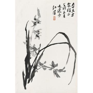 汤文选壬戌(1982)年作幽兰镜片水墨纸本