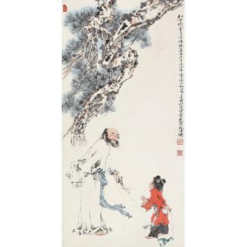 范曾辛酉(1981)年作松下问童子立轴设色纸本