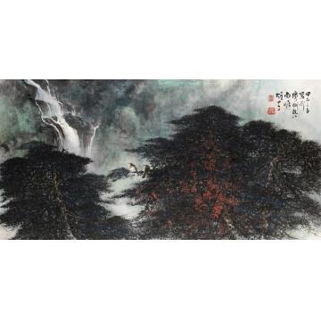 黎雄才甲子(1984)年作松瀑双禽镜片设色纸本