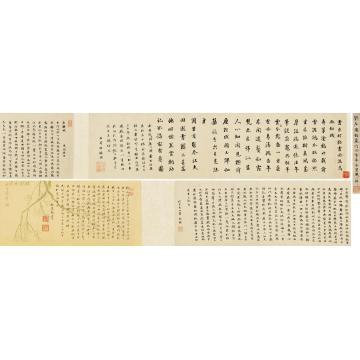 刘墉(古)题画诗四首并赤壁赋手卷水墨纸本