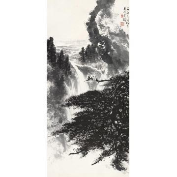 黎雄才1986年作松猿戏瀑图镜片水墨纸本