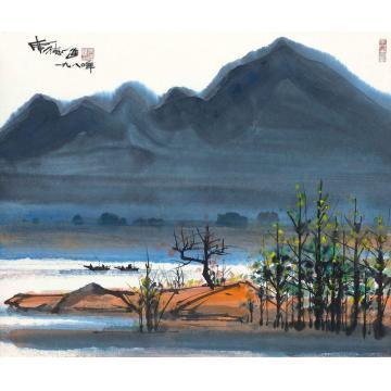 席德进1980年作山林静渔人忙彩墨纸本