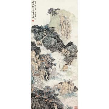 贺天健乙酉(1945)年作太行山色立轴设色纸本