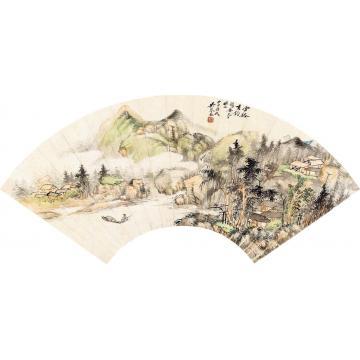 吴琴木甲申(1944)年作云溪垂钓扇面设色纸本