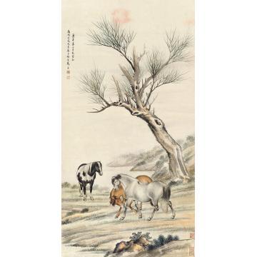 马晋庚午(1930)年作骏马图立轴设色纸本