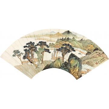 应野平己卯(1939)年作夏山图扇面设色纸本