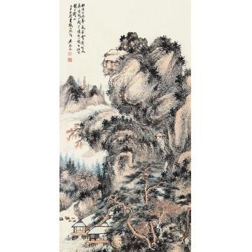 吴琴木丁丑(1937)年作松翠叠嶂镜片设色纸本