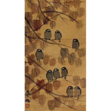 林风眠花鸟立轴纸本
