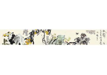许麟庐花卉横幅纸本