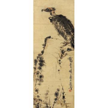 潘天寿鹰立轴纸本