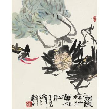 潘天寿1965年作蔬壮蟹肥立轴设色纸本