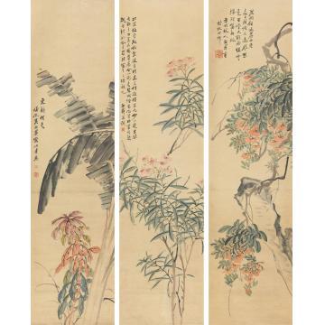 吴熙载花卉三屏立轴纸本