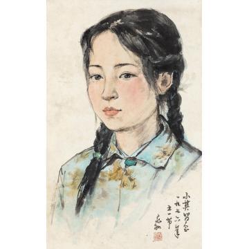 蒋兆和1976年作少女立轴设色纸本