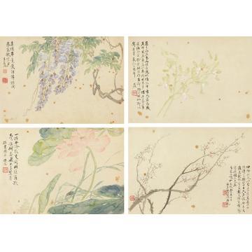 费丹旭1839年作清香(四帧)镜心纸本