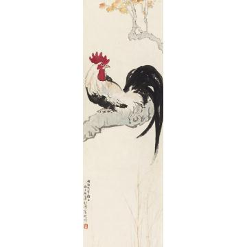 徐悲鸿1936年作鸡鸣桑树颠立轴纸本