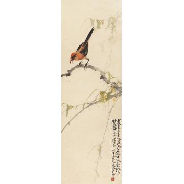 赵少昂1945年作鸣禽立轴纸本