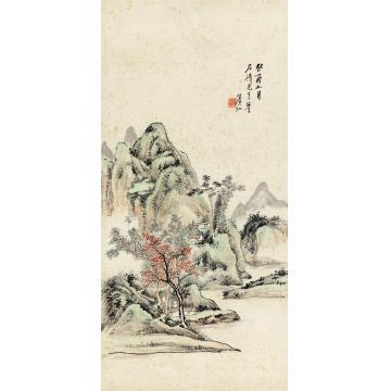 黄宾虹1933年作红树青山立轴纸本