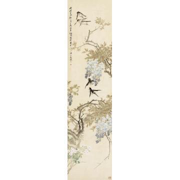 任伯年1874年作紫藤飞燕立轴绢本