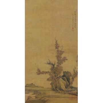 陈洪绶1626年作溪山秋色图绢本立轴