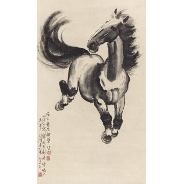 徐悲鸿1950年作奔马立轴纸本