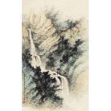 黄君璧1968年作云泉仙馆立轴纸本
