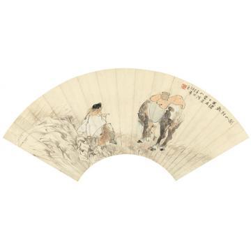 任伯年1887年作关山行旅镜心纸本