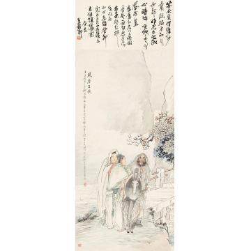 钱慧安1902年作风尘三侠立轴纸本
