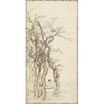 陈少梅1929年作桃花仕女立轴绢本