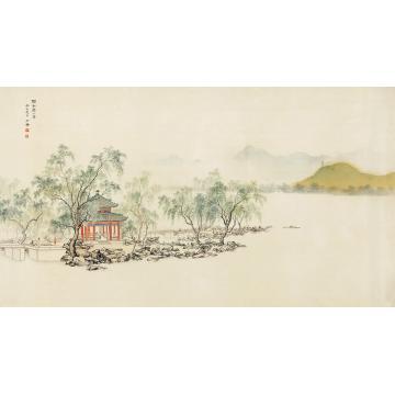 陈少梅1953年作颐和园小景镜心绢本