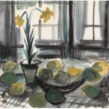 林风眠柠檬与百合花镜心纸本