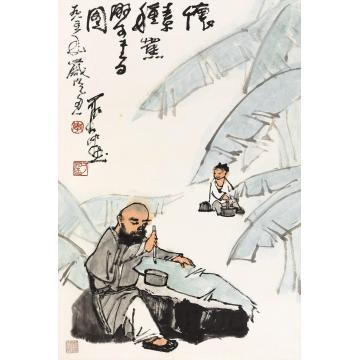 李可染1985年作怀素书蕉图镜心纸本