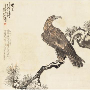 徐悲鸿1932年作英雄独立立轴纸本