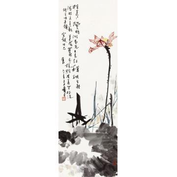 潘天寿1961年作红荷立轴纸本