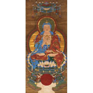 佚名如来佛祖镜心设色绢本