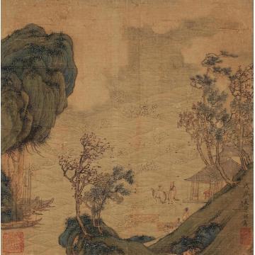 陈祼1628年作阁台观潮镜心设色绢本