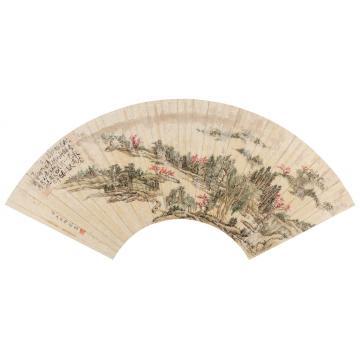 王原祁1693年作太平如意图扇面设色纸本