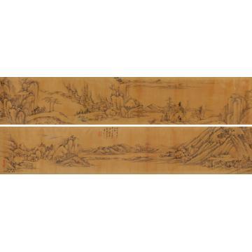 王原祁1694年作仿大痴山水手卷水墨纸本
