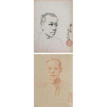 徐悲鸿1926-1927年作钱化佛像纸本水墨、粉彩