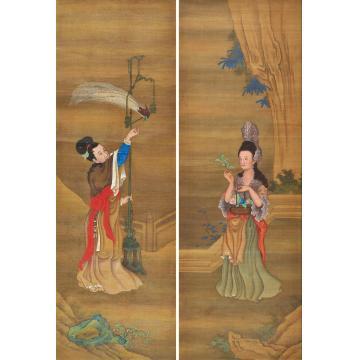 郎世宁清18世纪中西仕女图(两幅)绢本