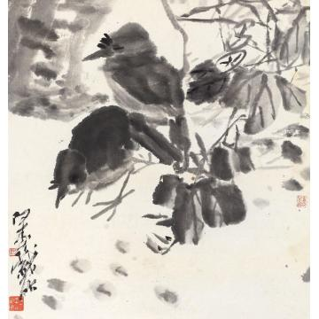 潘天寿双雀立轴纸本