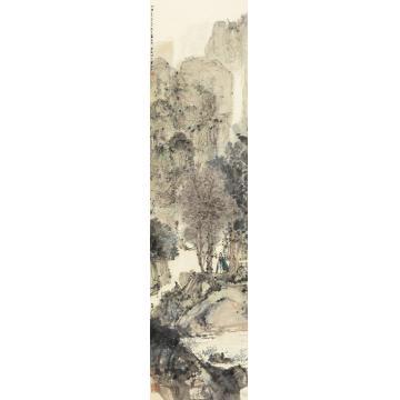 傅抱石1945年作秋山策杖立轴纸本