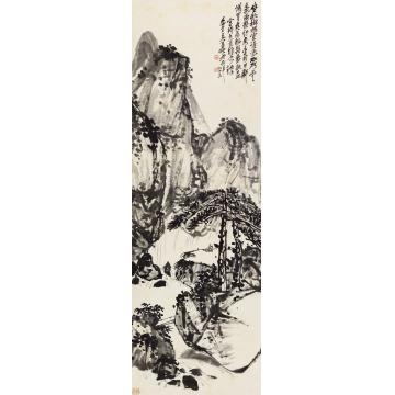 吴昌硕1916年作松泉抚琴图立轴纸本