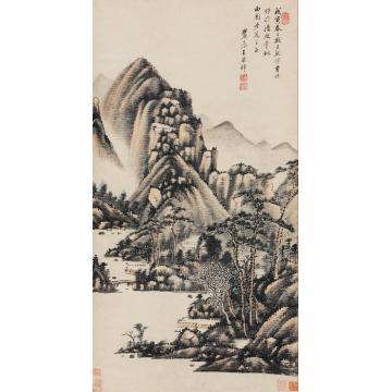王原祁1698年作拟巨然笔意立轴设色纸本