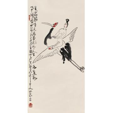 丁衍庸1972年作仙人骑鹤镜心设色纸本