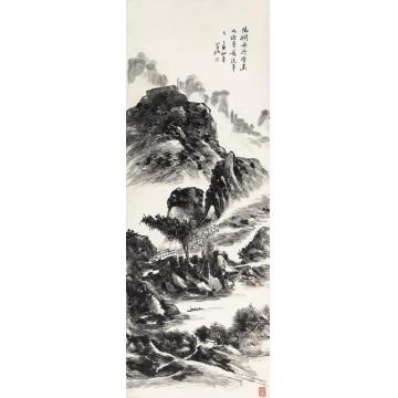 黄宾虹1945年作阳朔舟行镜心水墨纸本