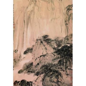 傅抱石1946年作观瀑图立轴