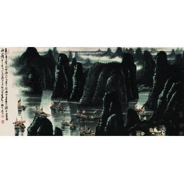 李可染1982年作漓江帆影横幅